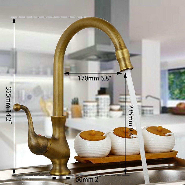 CZOOR Kitchen Taps Cozinha Faucet Antique Brass Swivel Spout Kitchen Faucets Single Handle Vessel Sink Mixer Tap