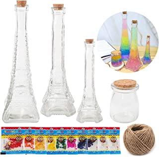 SUPERLELE Water Beads Rainbow Mix Growing Balls Gel Beads Kit Rainbow Series Craft Kit DIY Make Your Own Rainbow Series Bottles with 4 Shapes Glass Bottles for Craft Project Great Gift