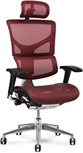 X-Chair X2 Management Task Chair, Red K-Sport Mesh with Headrest