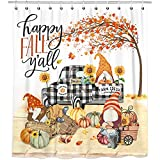 "Bonsai Tree Fall Shower Curtain for Bathroom, Autumn Pumpkins Waterproof Bath Curtains, Gnomes Buffalo Plaid Truck Maple Leaves Farmhouse Decor Fabric Seasonal Shower Curtains with Hooks, 72""x72"""