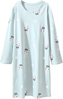 Image of Long Sleeve Cotton Blue Bunny Rabbit Nightgown for Girls - See More Colors