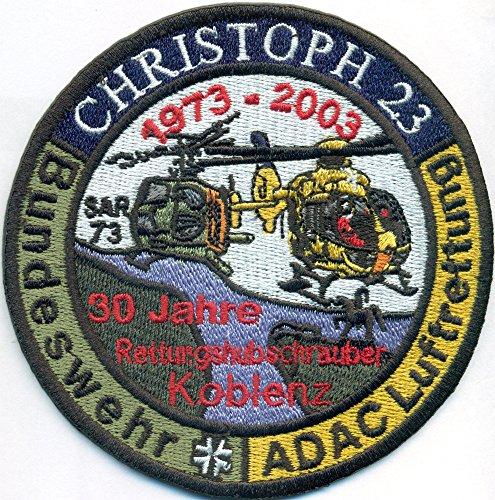 test Christoph 23 Bundeswehr ADAC Air Rescue 30 Jahre Rettungshubschrauber Abzeichen Patch Deutschland