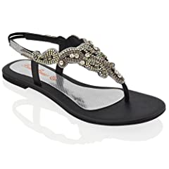 192d5f441 ESSEX GLAM Womens Slingback Sandals Ladies Diamante Toe Post .