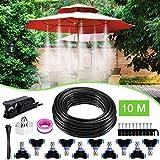 Weeygo 10M Système d'irrigation Système de Refroidissement par Brouillard Kits de Brumisateur Extérieur pour Bricolage Jardin Patio(10 Buse)