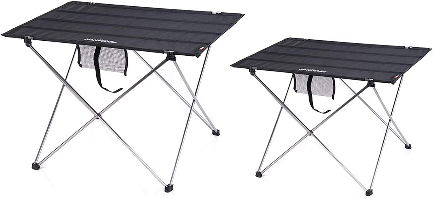 2Pcs Camping Table, Storage Pocket - Lightweight,Durable,Compact for Picnic Beach Fishing Hiking,Oxford Cloth Tabletop