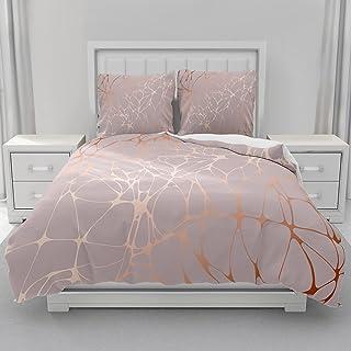 Morbuy Parure de lit 2 Personnes avec Imprimé de Marbre Housse de Couette + Taies d'oreillers 65x65cm, 3D Marbre Sets de H...