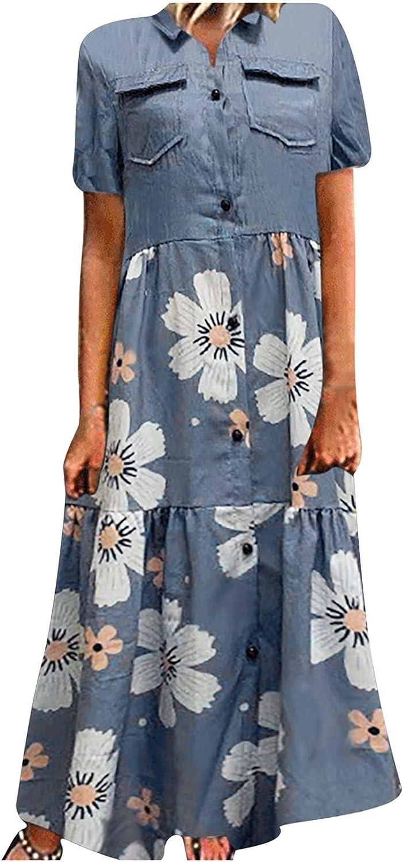 Maxi Dress Women Button Loose Printed V-Neck Lmitation Denim Short Sleeve Long Dress Maxi Skirt Boho Floral Elegant
