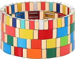 PHALIN Rainbow Enamel Tile Bracelets Set Colorful Tile Bead Stretch Bracelet Bangles Elastic Stackable Colorblock Strand B...