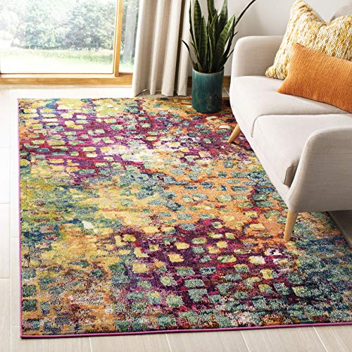 Safavieh Monaco Collection MNC225D Boho Chic Abstract Watercolor Non-Shedding Stain Resistant Living Room Bedroom Area Rug, 3 x 5, Pink / Multi
