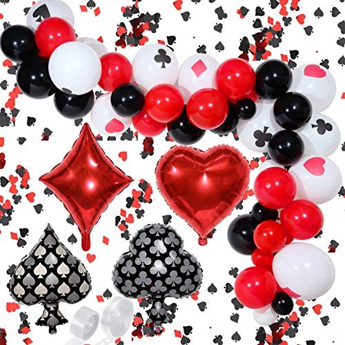 116 Pieces Casino Balloons Garland Arch Kit Black Red White Latex Balloon Poker Aluminum Foil Balloons with Casino Confetti for Casino Theme Party, Las Vegas Theme Parties, Casino Night, Poker Events