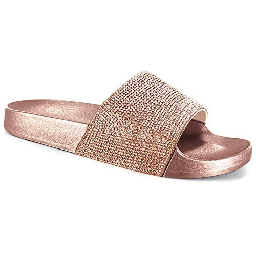 25bc56dc4655f5 SUGAR ISLAND Celebrity Style Ladies Womens Glitter Diamante Flip Flop  Sliders Plain Slippers Mules