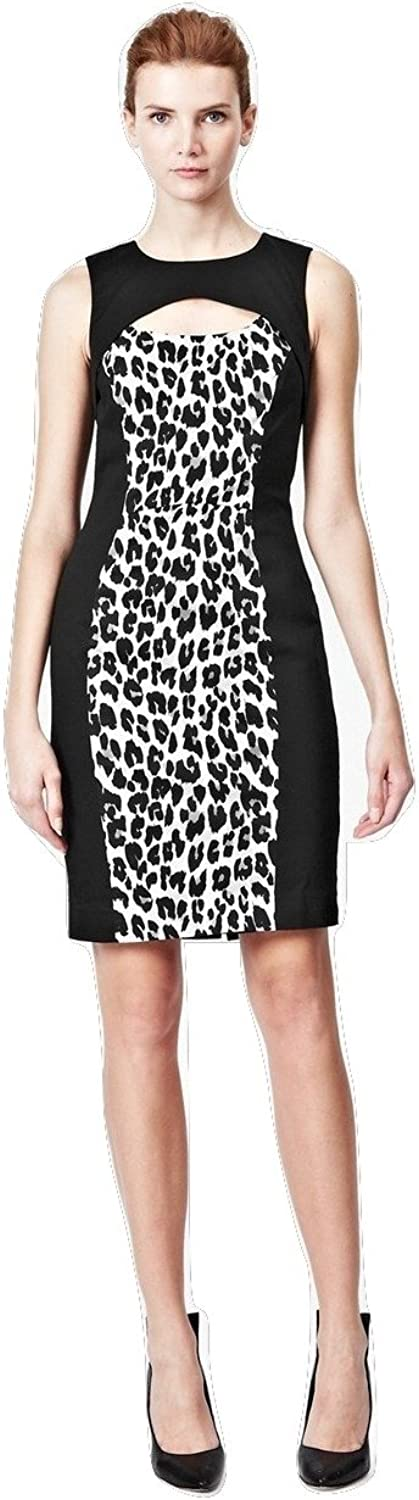 French Connection Women's Animal Print Cut Out Winter Simba Dress Silver Size 2