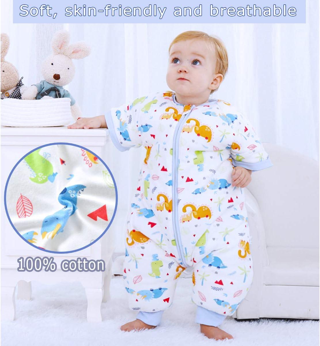 Gigoteuse B/éb/é Gar/çons Filles Barboteuses Coton Manches D/étachables Pyjama Combinaison dhiver Chaud Jumpsuit Grenouill/ères Enfants 0-1.5 ans,Rose