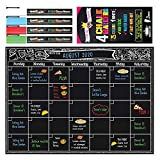 Magnetic Calendar for Refrigerator- Dry Erase Magnet Fridge Organizer Calendar with 4 Magnetic Cap Chalk Markers Included