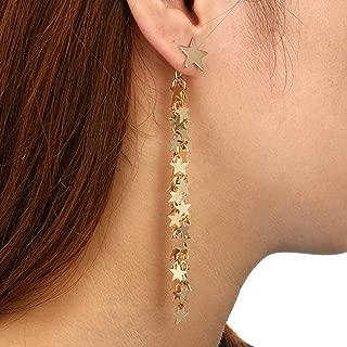 KUUCOL Gold Stars Tassels Long Drop Dangle Earring Earrings Jewellry for Women Girls Fashion (1 pair, gold)