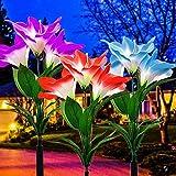 CLIVIA Flower Lights - Juego de 3 luces LED solares para jardín, 12 cabezales, cambio de color, para exteriores, flores grandes, paneles solares más amplios, para terraza, jardín, fiesta, día festivo