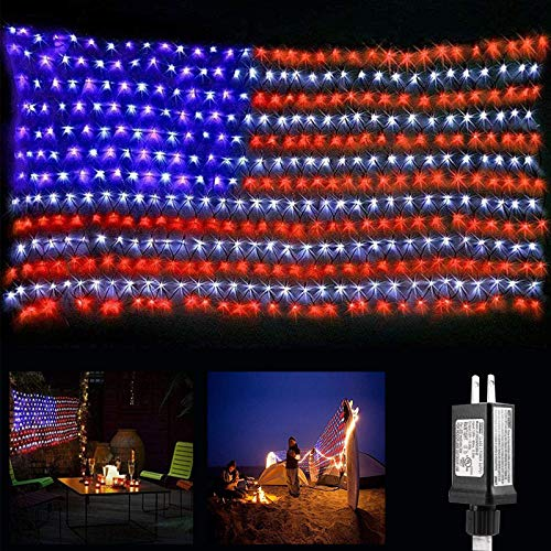 DooVee American Flag lights, 6.56ft x 3.28ft Red White Blue Led Flag Lights, 390 LED Flag Net Lights with 8 Modes for Indoor Outdoor Independence Day, Memorial Day, Christmas Day, Festival Decorations