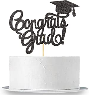 Black Glitter Congrats Grad Cake Topper - Class of 2018 2019 Graduate Party Decorations Supplies - High School Graduation, College Graduate Cake Topper