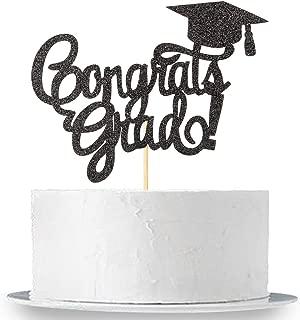 INNORU Congrats Grad Cake Topper - Black Glitter Class of 2020 2019 Graduate Party Decorations Supplies - High School Graduation, College Graduate Cake Topper