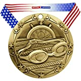 Decade Awards Swimming World Class Medal, Gold - 3 Inch Wide Swim Meet First Place Medallion with Stars and Stripes American Flag V Neck Ribbon