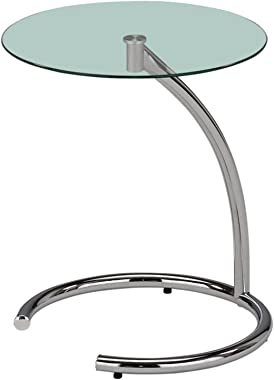 Kings Brand Chrome with Glass Modern Accent Side End Table