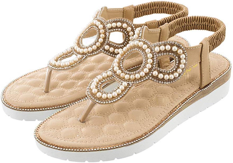 e3cff7edf8226 HRN Sandals for Hollow Clip Toe shoes Pearl Decorative Beach shoes ...