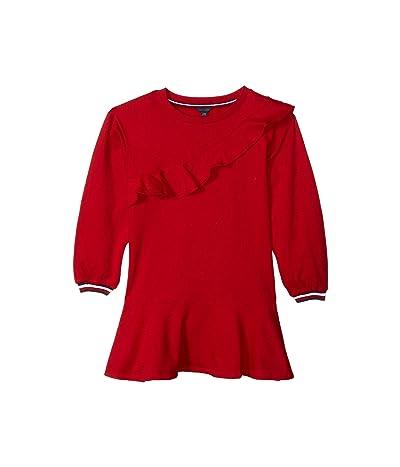 Tommy Hilfiger Kids Ruffle Long Sleeve Sweatshirt Dress (Big Kids) (Scarlet Sage) Girl