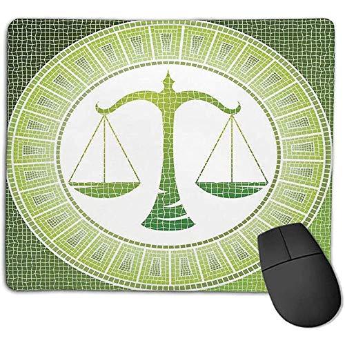 Muis Pad Bundel Astrologie Weegschaal Teken op Antieke Mozaïek Balans Patiënt Zodiac Air Symbool Decor Groen Wit Geniet