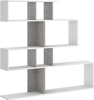 HABITMOBEL Librería estantería Zig Zag, Comedor, Salon o despacho, Medidas: 130 x 139 x 5 cm de Fondo (Blanco y Gris Cemento)