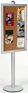 Enclosed Bulletin Board 76 x 28-1/16 x 18 Inch Brushed Silver Aluminum Frame and Pole Floor Standing Corkboard with 24 x 36 Inch Area