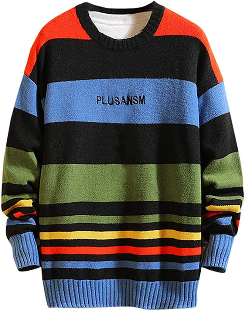Holzkary Men's Casual Stripe Pullover Crew Neck Sweater Fashion Assorted Color Knitwear