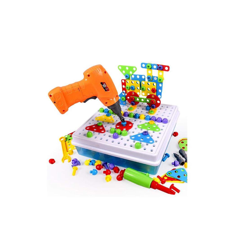 TLMYDD 電動DIY組み立て玩具ミックスボリューム木製パズル電動ドライバーパズル早期教育玩具 子供のおもちゃ