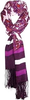 Women's Bright Paisley & Striped Scarf Purple Fuschia