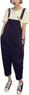 Yeokou Women's Loose Baggy Cotton Wide Leg Jumpsuit Rompers Overalls Harem Pants