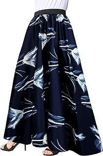 Afibi Women Chiffon Mopping Floor Length Big Hem Solid Beach High-Waist Maxi Skirt
