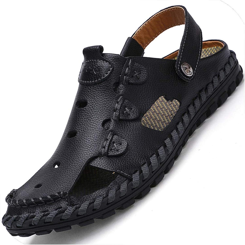 Sandaler av baotou Män's läder läder läder herrar skor dual -use Sandals and Slippers män  bara köpa den