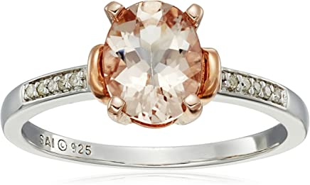 Sterling Silver with Rose Gold Plating Morganite and Diamond-Accented Ring, Size 7