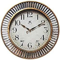 Infinity Instruments Ruche Wall Clock 16 inches Industrial Brushed Distressed Antique Silver & Gold Textured Frame