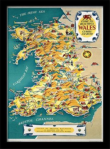 Nationaal Spoorwegmuseum Wales Vintage Kaart Ingelijst 30 x 40cm Print, MDF, Meerkleurig, 42 x 32 x 2,4 cm