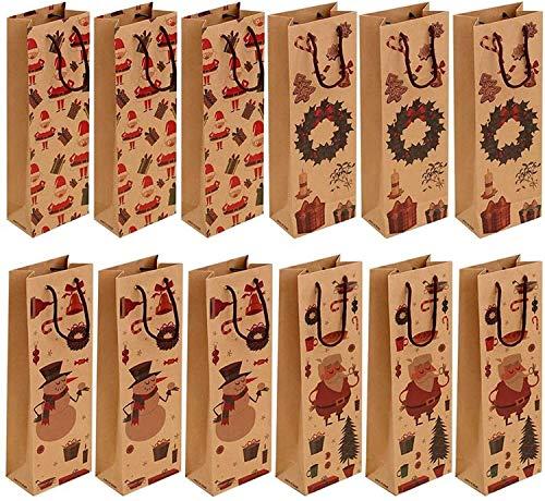 Huoo 12 Pz Kraft Bottiglia di Vino Borse di Natale Sacchetti della Bottiglia di Carta Sacchetti della Bottiglia Riutilizzabile Regalo Borse