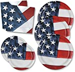 Patriotic Plates Party Pack for 50 Guests; 50 Patriotic Dinner Plates, 50 Patriotic Dessert Plates and 100 Patriotic Luncheon Napkins by Gift Boutique MADE IN THE USA!