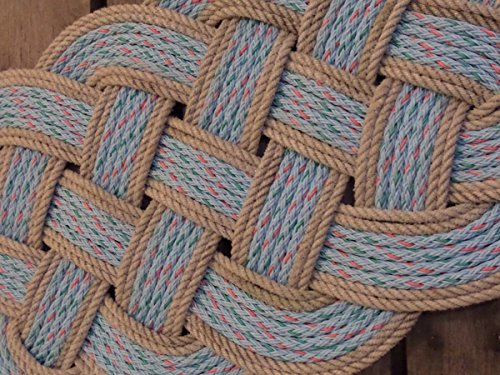 "34"" x 15"" Rope Rug Doormat Rope Rug Tightly Knotted Handmade Made in Alaska Light Blue with Silver Trimmed Accent"