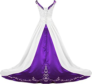 Women's V Neck Satin Embroidery Wedding Dress for Bride Chapel Train