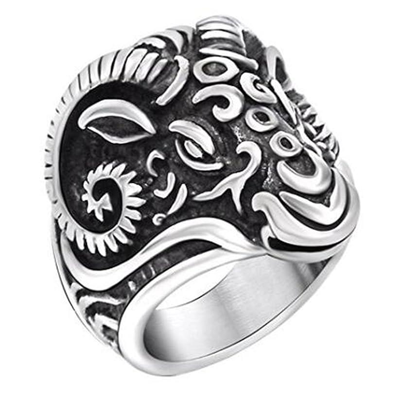 JJWW Titanium Steel Vintage Retro Silver Sheep Totem Ring