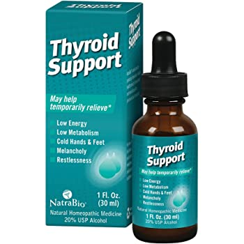 NatraBio Thyroid Support Homeopathic Drops | May Help Temporarily Relieve Low Energy, Melancholy & Restlessness, 1 fl oz