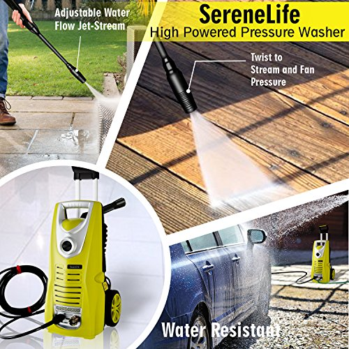 Serenelife Electric Pressure Washer - Powerful Heavy Duty 14.5 AMP 1800PSI Rolling Wheels - Car Power Wash Spray Clean Concrete Driveway Car Home - SLPRWAS46