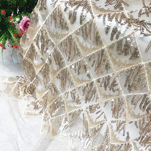 Meterware als Dekostoff- Fransenstoff Mesh Stickerei Bekleidung Kleid Kleid Spitze Stoff, Golden 0.5M