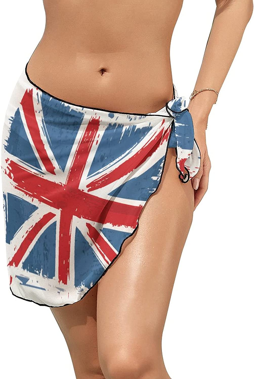 JINJUELS Women's Bikini Swimsuit Cover Up England Flag Summer Beach Wrap Skirt Pareo Sarong