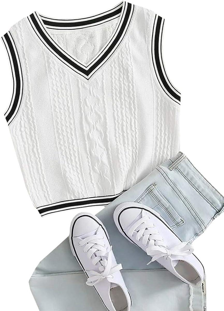Hongqizo Womens V Neck Varsity Striped Cropped Sweater Vest Sleeveless Knit Tops