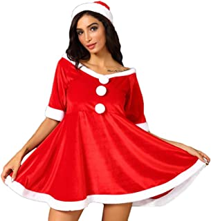 Ellymi Christmas Festival Wedding Night Cute V-Neck Hairball Dress Ball Gown Dress Bow Decoration Party Dress for Women
